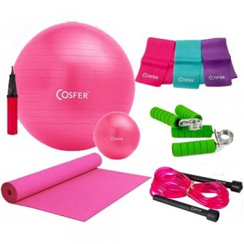 Cosfer Pilates Seti New Model 55 Cm PilatesTop & 120 Cm Pilates Lastiği CSFSET-03